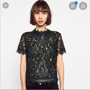 Zara Emerald Green Lace Top NWT